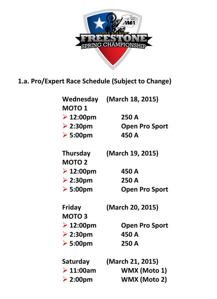 Schedule Pro Classes 2015